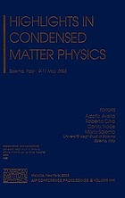 Highlights in condensed matter physics : Salerno, Italy, 9-11 May 2003