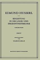 Einleitung in die Logik und Erkenntnistheorie : Vorlesungen 1906/07