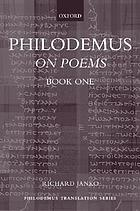 Philodemus on poemsOn poems 1. Book 1On poems ; Book 1