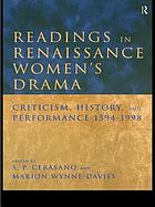 Readings in renaissance women's drama : criticism, history, and performance, 1594-1998