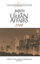 Brookings-Wharton papers on urban affairs, 2000
