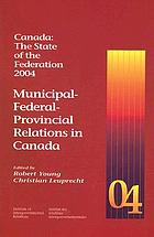 Municipal-federal-provincial relations in Canada