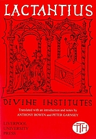 Lactantius : Divine institutes