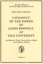 Catalogue of the papers of James Boswell at Yale UniversityCatalogue of the papers of James Boswell at Yale UniversityCatalogue of the papers of James Boswell at Yale University