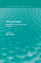 Knut Wicksell : selected essays in economics