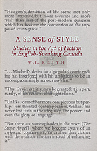 A sense of style : studies in the art of fiction in English-speaking Canada