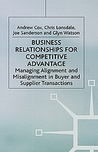 Business relationships for competitive advantage : managing alignment and misalignment in buyer and supplier transactions