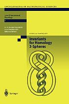 Invariants for homology 3-spheresEncyclopaedia of mathematical sciences