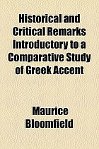 Historical and critical remarks introductory to a comparative study of Greek accent