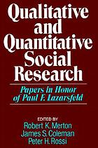 Qualitative and quantitative social research : papers in honor of Paul F. Lazarsfeld