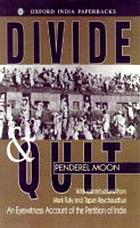 Divide and quit : an eye-witness account of the partition of India