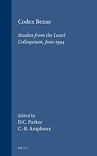 Codex Bezae : studies from the Lunel colloquium, June 1994