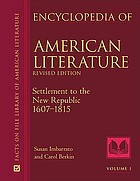 Encyclopedia of American literature. 1607-1815
