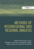Methods of interregional and regional analysis