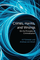 Crimes, harms, and wrongs : on the principles of criminalisation