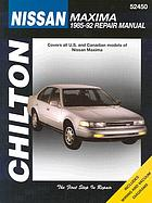 Chilton's Nissan Maxima 1985-92 repair manual