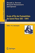 Ecole d'été de probabilités de Saint-Flour XXI, 1991