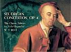 Six concertos for the harpsichord or organ : Walsh's transcriptions, 1738