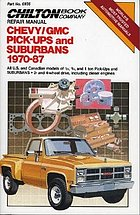 Chilton Book Company repair manual. all U.S. and Canadian models of 1/2, 3/4, and 1 ton pick-ups and Suburbans, 2- and 4-wheel drive, including diesel engines