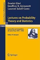 Lecture on probability theory and statistics : Ecole d'eté de probabilités de Saint-Flour XXVI - 1996