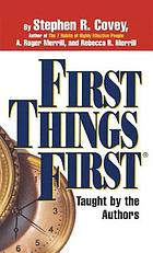 First things first taugh by the authors