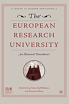 The European research university : an historical parenthesis : essays in honor of Professor Dr. Dr. h.c. mult. Stig Strömholm, former vice chancellor of Uppsala University ...