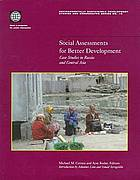 Social assessments for better development : case studies in Russia and Central Asia