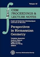 Perspectives in Riemannian geometry