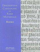 Descriptive cataloging of rare materials (books)