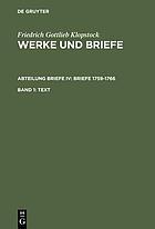Werke und Briefe : historisch-kritische Ausgabe : [Hamburger Klopstock-Ausgabe]