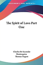 The spirit of laws : including d'Alembert's analysis of the work