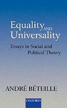 Equality and universality : essays in social and political theory