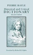 Historical and critical dictionary : selections