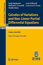 Calculus of Variations and Nonlinear Partial Differential Equations With a historical overview by Elvira Mascolo