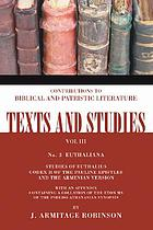 Euthaliana, studies of Euthalius, codex H of the Pauline epistles, and the Armenian version