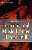 Instrumental music printed before 1600; a bibliography
