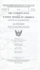 The Constitution of the United States of America : analysis and interpretation : 2006 supplement : analysis of cases decided by the Supreme Court of the United States to June 29, 2006
