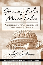 Government failure versus market failure : microeconomics policy research and government performance