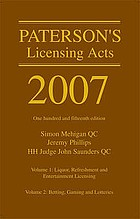 Paterson's licensing acts 2007
