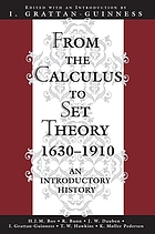 From the calculus to set theory, 1630-1910 : an introductory history