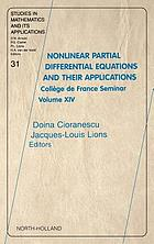 Nonlinear partial differential equations and their applications Collège de France seminar volume XIV