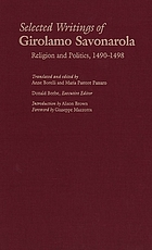 Selected writings of Girolamo Savonarola religion and politics, 1490-1498
