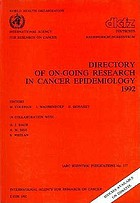 Directory of on-going research in cancer epidemiology