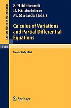 Calculus of variations and partial differential equations : proceedings of a conference held in Trento, Italy, June 16-21, 1986