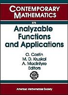 Analyzable functions and applications : International Workshop on Analyzable Functions and Applications, June 17-21, 2002, International Centre for Mathematical Sciences, Edinburgh, Scotland