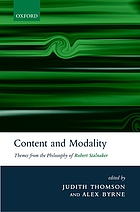 Content and modality : themes from the philosophy of Robert Stalnaker