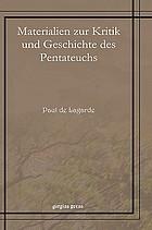 Materialien zur Kritik und Geschichte des Pentateuchs. Beiträge zur baktrischen Lexikographie. Hieronymi Quaestiones hebraicae in libro Geneseos