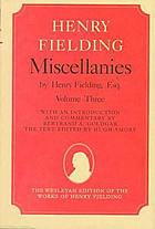 Miscellanies by Henry Fielding, esq.