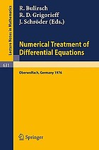 Numerical treatment of differential equations : proceedings of a conference held at Oberwolfach, July 4-10, 1976