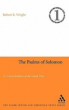 The Psalms of Solomon a critical edition of the Greek text